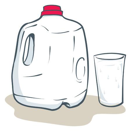 Una ilustración de un litro de leche y un vaso