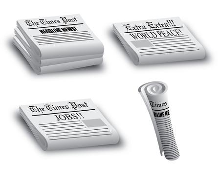 様々 な積み上げと圧延ニュース ペーパー イラストレーター 10
