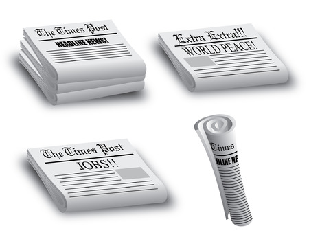 Various Stacked and rolled news papers illustrator 10