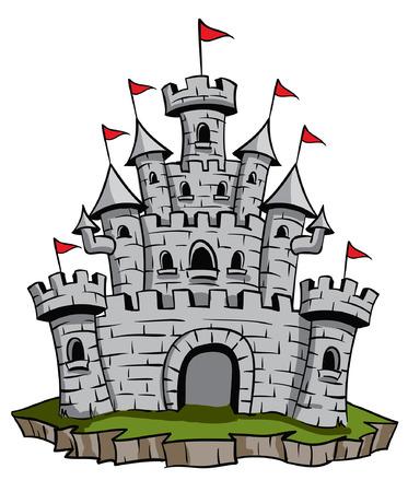 Old medieval stone castle illustration