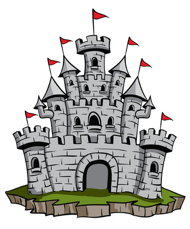 Old medieval stone castle illustration