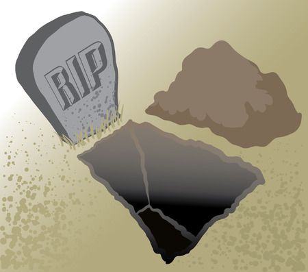 An Illustration of an open grave and headstone Illustration