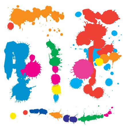 colorful splatters of stains and multi colored paint splashes