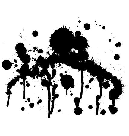 Dripping splattered paint inkblot sprayed against wall Illustration