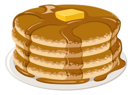 Een illustratie van stapel pannenkoeken met stroop en boter