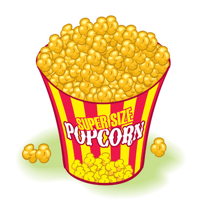 Super sized Movie Theater Popcorn. Yellow and red,