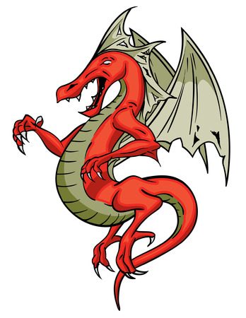 winged dragon: Red Flying Scary screaching winged dragon Illustration