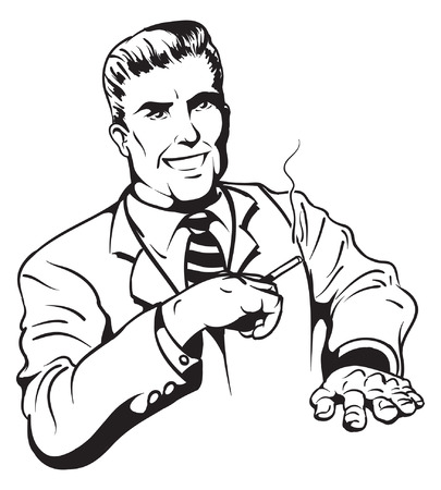 An Illustration of a handsome retro smoking man Illustration