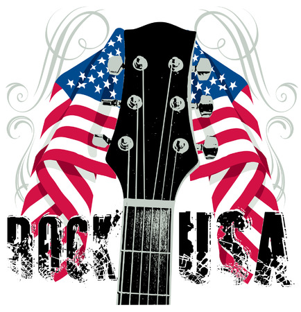 Red white and blue flag and Guitar Rock USA