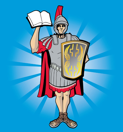Roman soldier holding book and decorative shield