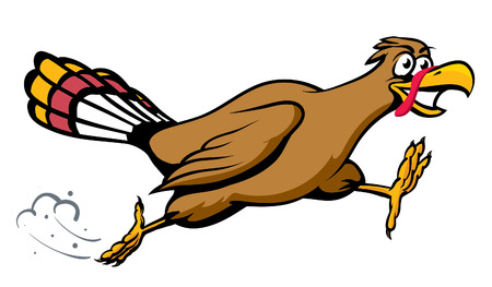 An Illustration of a cartoon running turkey