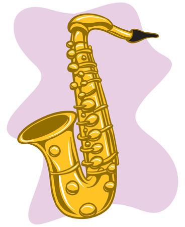 Een illustratie van een glanzende koperen saxofoon.