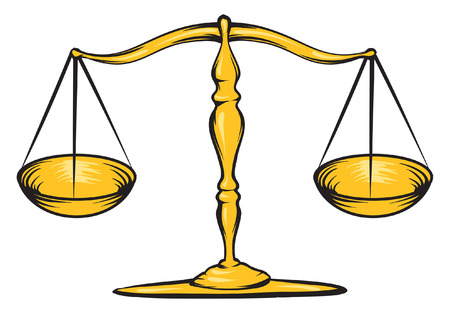 prosecute: An Illustration of a gold scale, law