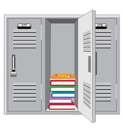 Armarios de metal con una abierta mostrando los libros y el lápiz