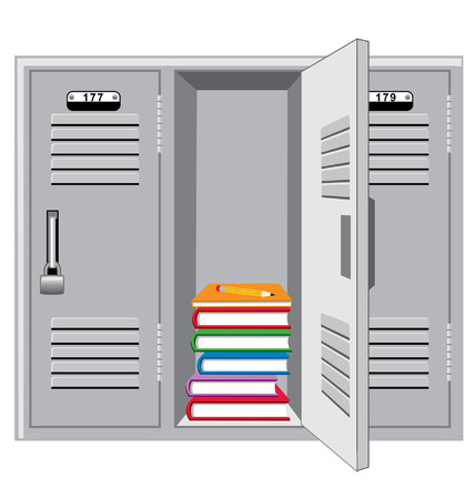 Metal lockers with one open showing books and pencil Illustration