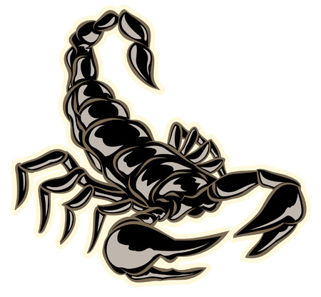 black hand drawn scorpion with pinchers ready to sting Illustration