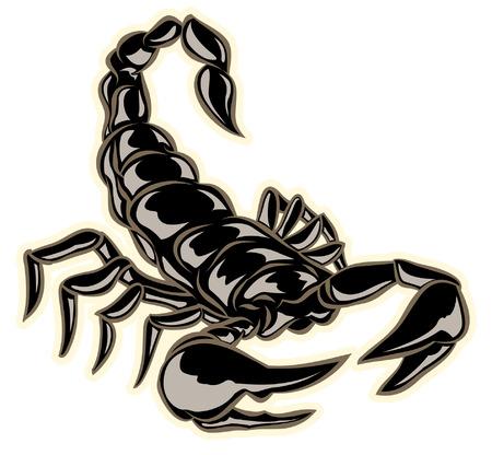 mano negro escorpión dibujado con pinzas listos para picar Vectores