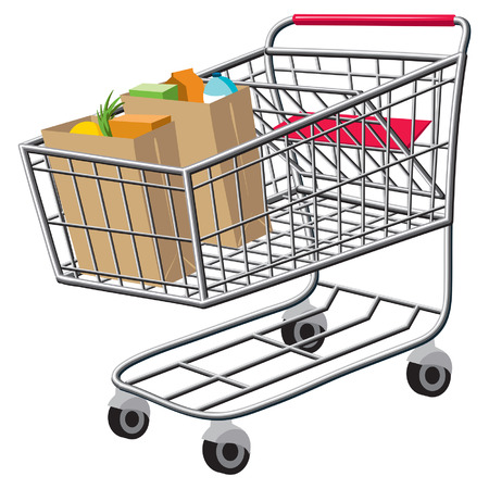 bought: An Illustration of a shopping cart with bags of groceries