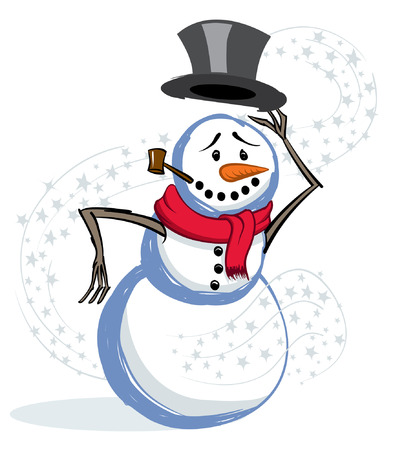 winter snow and snowman tipping his hat to you Illustration