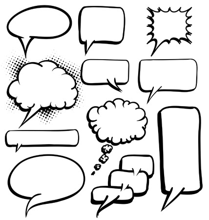Various shapes of Black and white speech bubbles Illustration