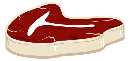 Een illustratie van een rauwe plaat van steak