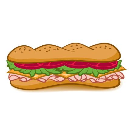 양상추, 토마토, 고기, 치즈와 함께 다채로운 만화 하위 샌드위치