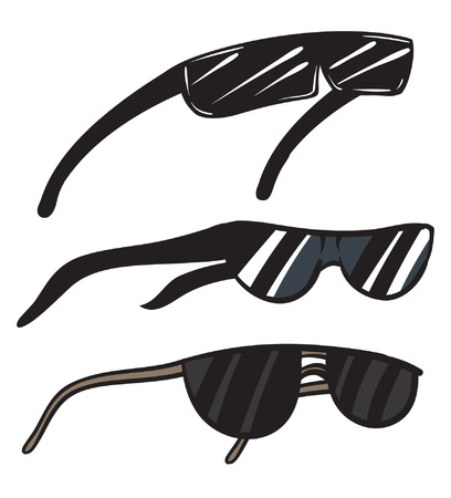 An Illustration of a trio of black sunglasses.
