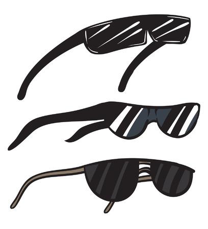 Une illustration d'un trio de lunettes noires. Banque d'images - 35460133