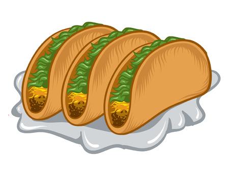 corn tortilla: An Illustration of a three stuffed tacos. Illustration