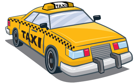An Illustration of a yellow taxi with taxi on top and side