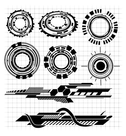 various Technological futurisitic contemporary shapes