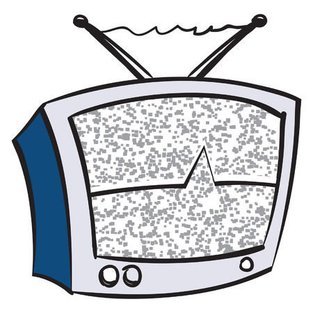 An Illustration of a retro television with static. Illustration