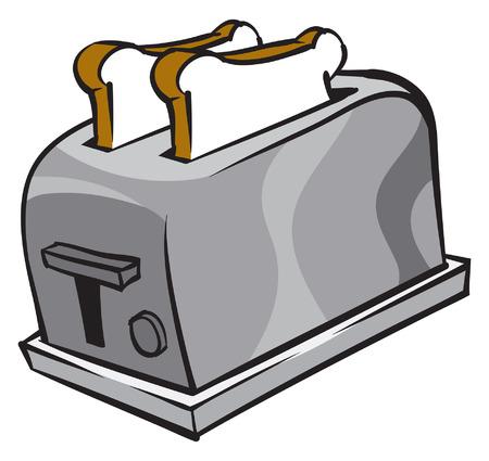 Une illustration d'un grille-pain et deux tranches de pain Banque d'images - 35460141