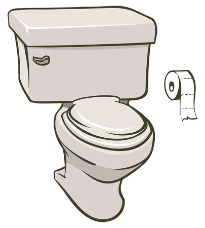 An Illustration of a toilet and a roll of tissue Vector