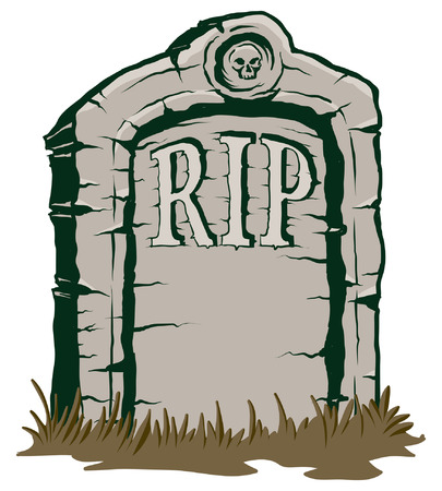 rip: An Illustration of a stone tombstone rip