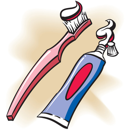 rotten teeth: An Illustration of a Toothbrush and Toothpaste tube.