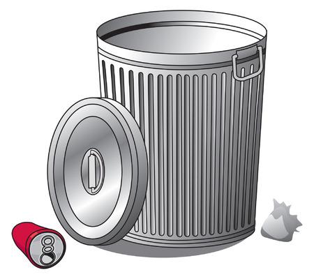 銀のゴミ箱とごみ箱のイラスト  イラスト・ベクター素材
