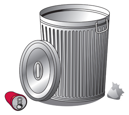 wastepaper basket: An Illustration of a silver Trash can and trash