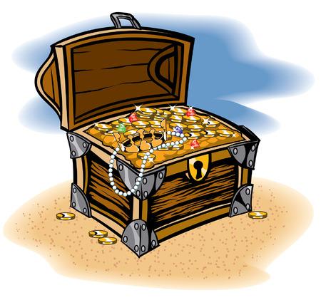 cofre del tesoro: Cofre del tesoro lleno de una recompensa de monedas y joyas Vectores