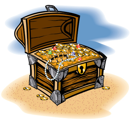 Treasure Chest full of a bounty of coins and jewels