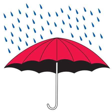 雨をシールド傘のイラスト  イラスト・ベクター素材