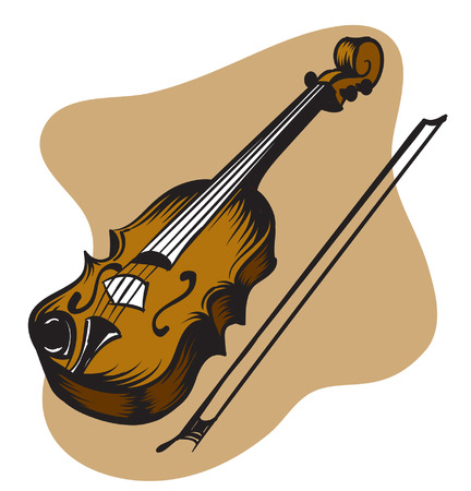 木製クラシック バイオリンのイラスト。