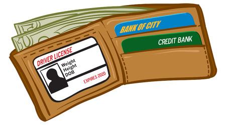 お金の完全な財布のイラスト