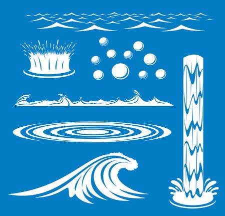 물 아이콘의 그룹의 그림