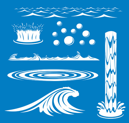 An Illustration of a group of water icons Ilustração