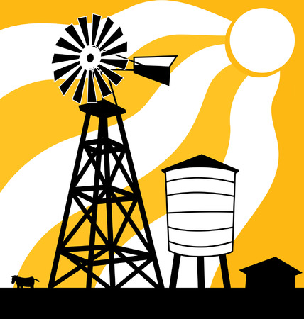Windmill on a farm showing through a sunset or sunrise Иллюстрация