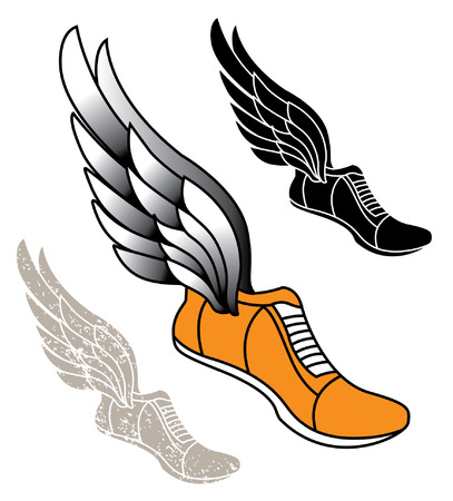 hand drawn cartoon: Track athletic sports running shoe logo with wings