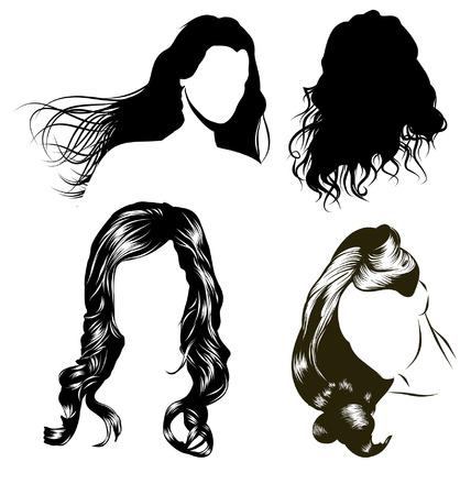 様々 な女性の髪のスタイルと女性の頭