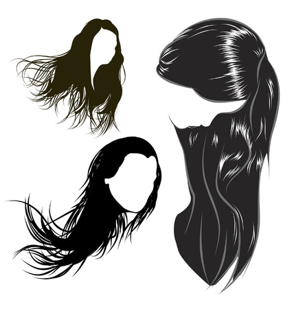 female hair: various female hair styles and heads of women