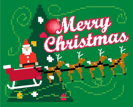 크리스마스 트리의 8 비트 게임 스타일의 뿅 장난감의 가방과 함께 산타 클로스의 그림